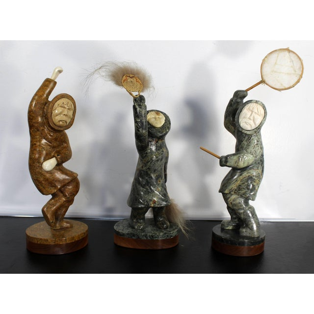 Modern Pair of Eskimo Soapstone and Tusk Carving Table Sculptures Signed Ekemo For Sale - Image 9 of 11