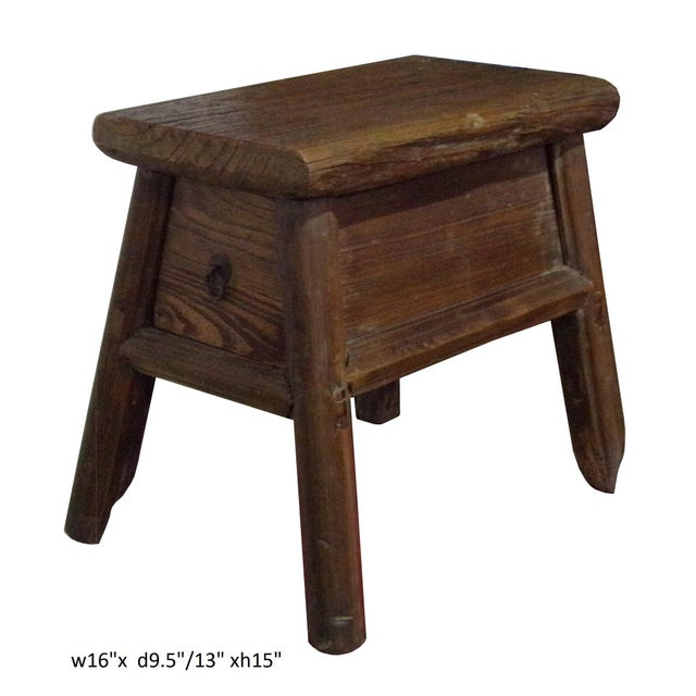 Wood Chinese Raw Wood Rough Finish Accent Single Sitting Stool w Drawer For Sale - Image 7 of 7