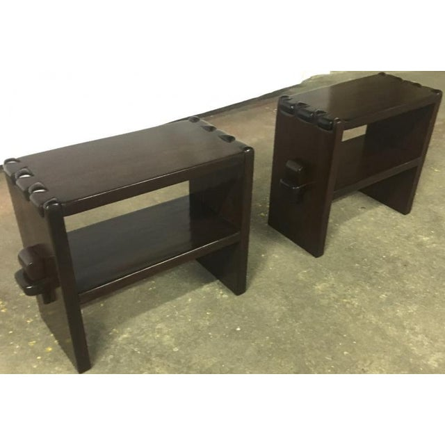 Brutalist Alexandre Noll Rare Pair of Side Tables in Solid Mahogany For Sale - Image 3 of 8