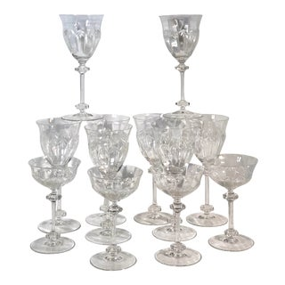 Cut Crystal Wine Glasses / Tall Champagne Glasses - 12 Pieces For Sale