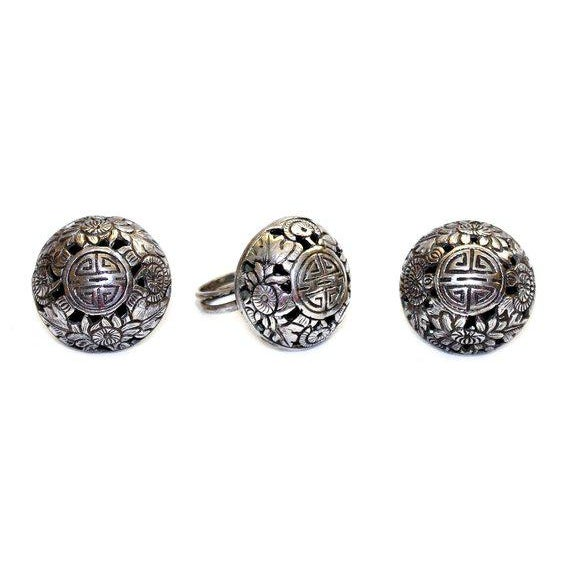 Asian Sterling Asian Motif Ring and Earrings Set, Vintage For Sale - Image 3 of 5
