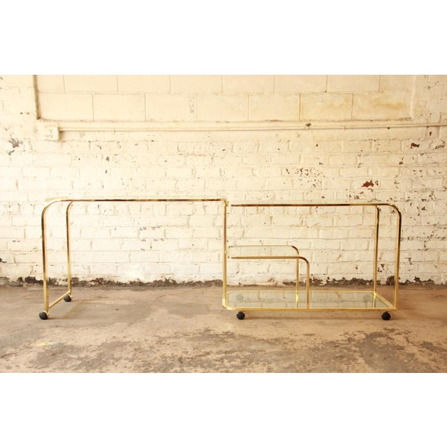 Milo Baughman for Dia Expandable Brass and Glass Bar Cart For Sale - Image 5 of 11