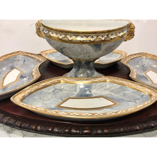 Antique Derby Marbleized Supper Set on Georgian Mahogany Tray For Sale - Image 9 of 13