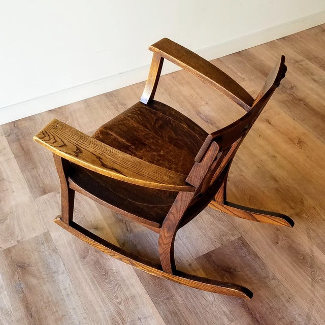 Early 20th Century Arts + Crafts Oak Rocking Chair For Sale In Seattle - Image 6 of 13