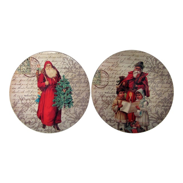 Decorative Christmas Charger Plates-2 Pieces For Sale