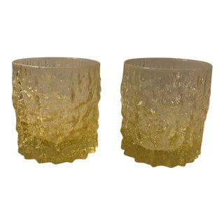 1960s Yellow Rock Glass Tumblers - a Pair For Sale