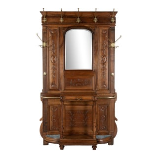 19th C. Louis XVI Style French Hall Tree With Mirror For Sale