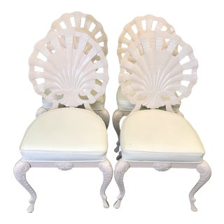 Vintage Palm Beach Regency Pink Brown Jordan Grotto Shell Back Chairs-Four For Sale
