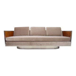 Rosewood and Chrome Case Mohair Upholstered Sofa With Oval Base For Sale