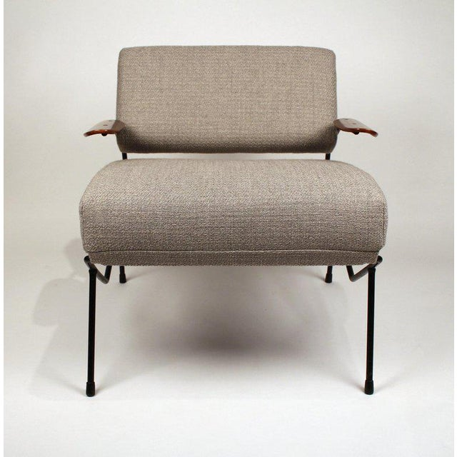 Iron Dan Johnson Iron Lounge Chair With Bent Walnut Plywood Armrests For Sale - Image 7 of 10