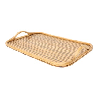 Vintage Bamboo And Rattan Serving Tray