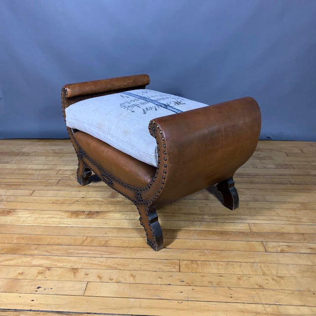 1930s Otto Schulz Leather & Grainsack Footstool, Boet, Sweden For Sale - Image 9 of 11