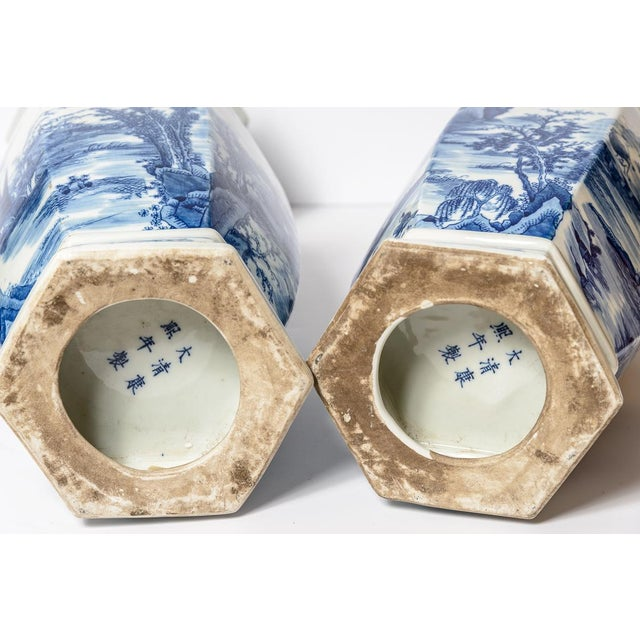 20th C. Tall Chinese Blue & White Vases - a Pair For Sale - Image 9 of 11