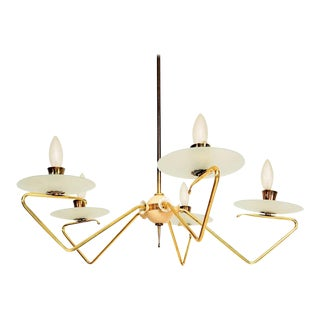 Stilnovo Italian Modern Five-Arm Italian Chandelier Brass and Glass For Sale