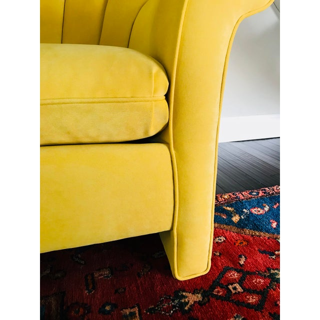 Fabric 1980s American Classical Bright Yellow Velvet Vanguard Channel Back Chairs - a Pair For Sale - Image 7 of 12