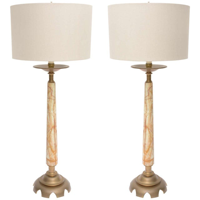 Mid-Century Onyx and Bronze Lamps - a Pair For Sale - Image 11 of 12