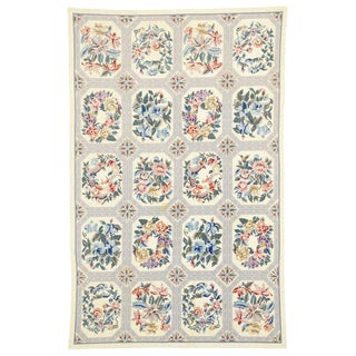 Late 20th Century Vintage Chinese Floral Needlepoint Rug- 5′4″ × 8′3″ For Sale