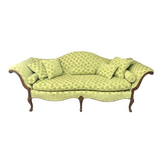Green Empire Camelback Sofa For Sale