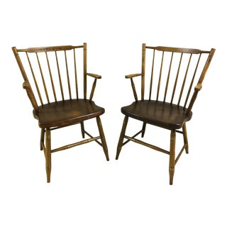 L. Hitchcock Paint Decorated Windsor Stick Back 440a Arm Chairs - a Pair For Sale