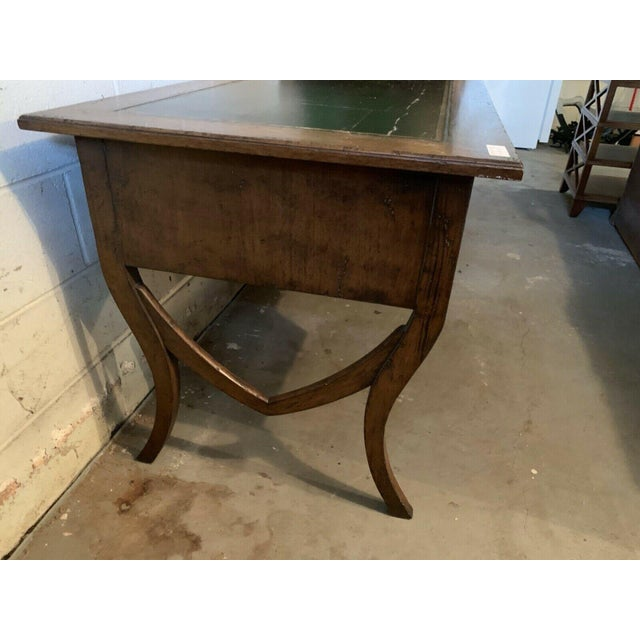 English Late 20th Century English Traditional Leather Top Writing Desk For Sale - Image 3 of 10