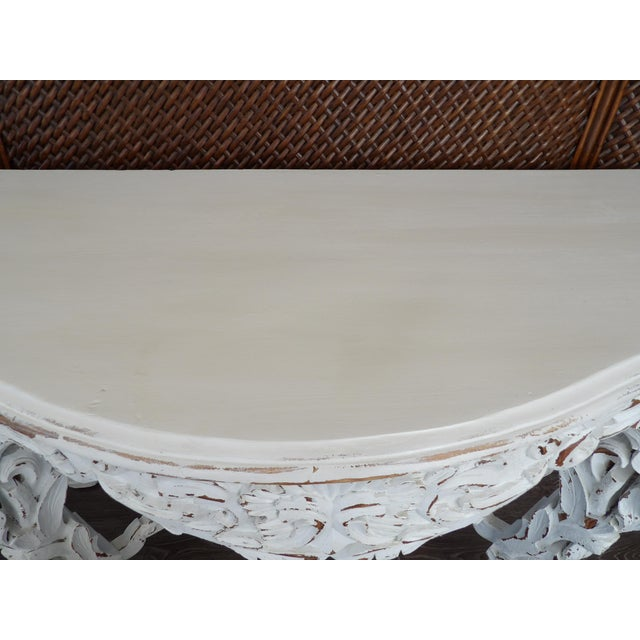Late 20th Century Hand Carved White Distressed Finish Console Table For Sale - Image 4 of 7