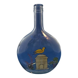 Very Nice Mid Century Hand Painted Flask Bottle C1960s For Sale