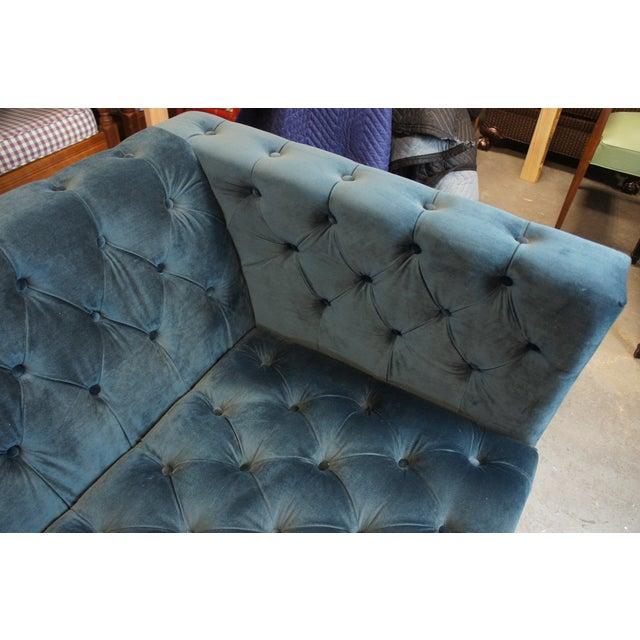 Blue Tufted Modern Velvet Upholstered Sofa For Sale - Image 10 of 13