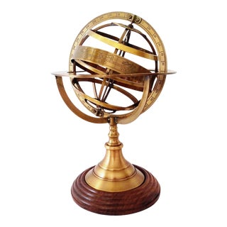 Antique Nautical Brass Armillary Sphere World Globe For Sale