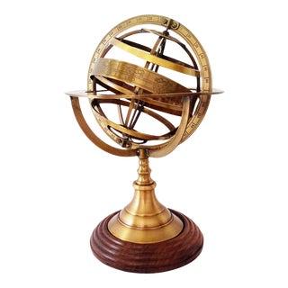 Vintage Nautical Brass Armillary Sphere World Globe For Sale