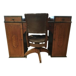 Vintage Writing Desk & Leather Chair