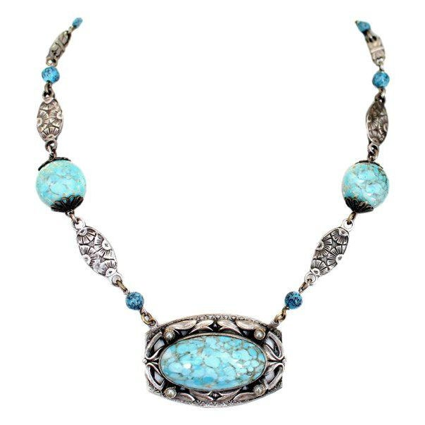 Lovely c1920/30s silver-plated brass necklace with ornate floral links bezel set with a large glass pale turquoise-blue...