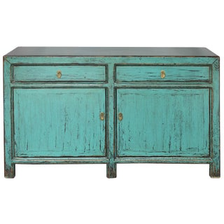 Asian Style Turquoise Sideboard For Sale