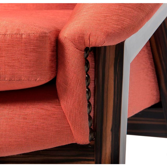 Orange Silk Upholstered Armchair For Sale In Miami - Image 6 of 13