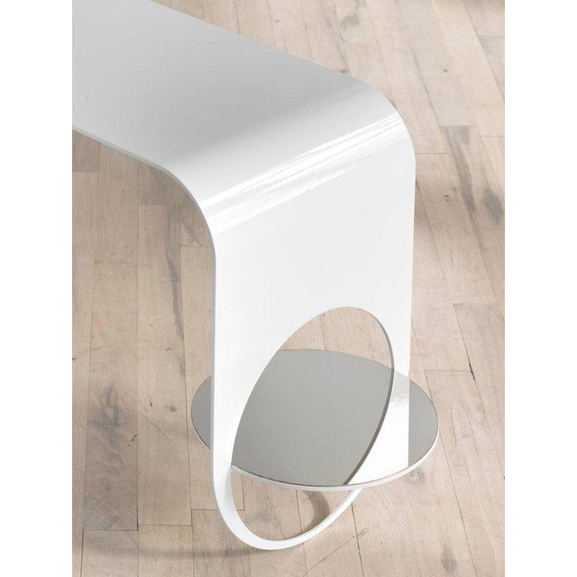 Kin & Company Contemporary White Powder Coated Steel and Polished Steel Shelf Thin Table 2 For Sale - Image 4 of 5