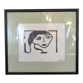 Framed Drawing Signed by Artist For Sale