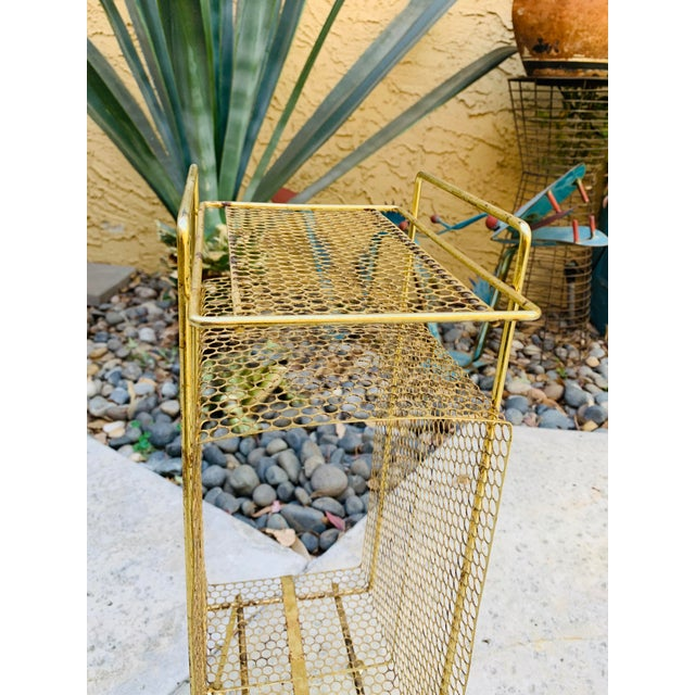 Atomic Modern Mid Century Modern Brass Phone Stand 1950s Googie Gold Retro Telephone Table Duchin Galef Style For Sale In Palm Springs - Image 6 of 9