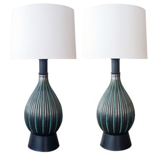 Pair of Danish Charcoal-Grey & Green Glazed Lamps by Michael Andersen & Sons For Sale