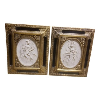 1889 Antique Marble Cast Reliefs With Paris Art Expo Coins - a Pair For Sale