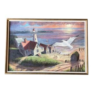 Original Vintage 1970's Lighthouse Seascape Painting Signed For Sale