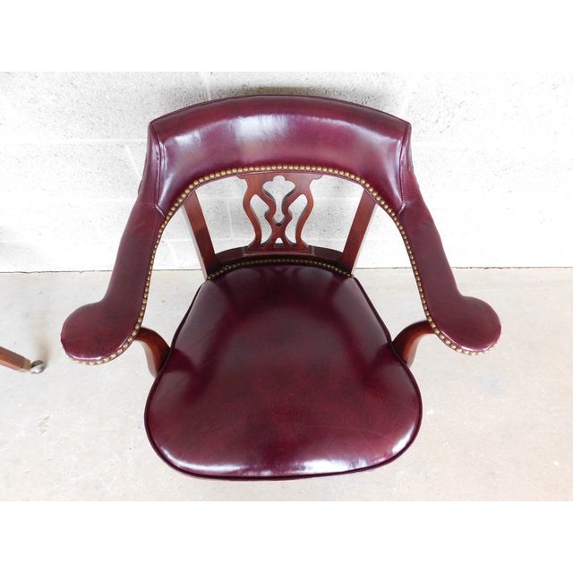 Hickory Chair Chippendale Style Leather Arm Chairs - a Pair For Sale - Image 10 of 13