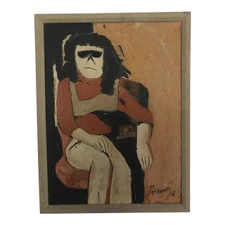 1968 Vintage Reichert Signed Acrylic Portrait Painting For Sale