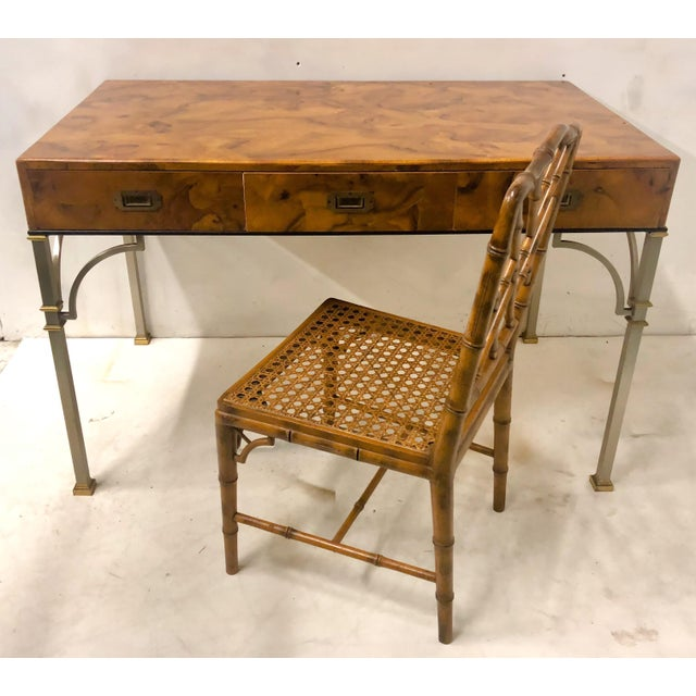 Brass Campaign Style Italian Burlwood Desk and Chair For Sale - Image 7 of 9