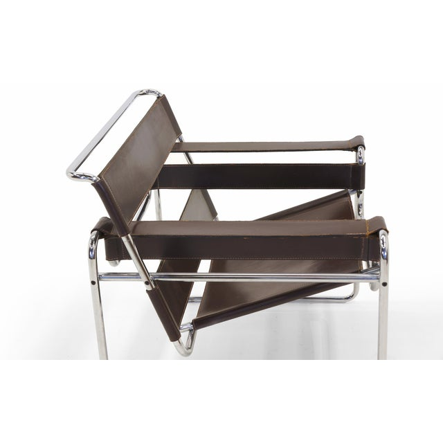 1960s Early Original Knoll Gavina Wassily Chair by Marcel Breuer in Brown Leather For Sale - Image 5 of 11