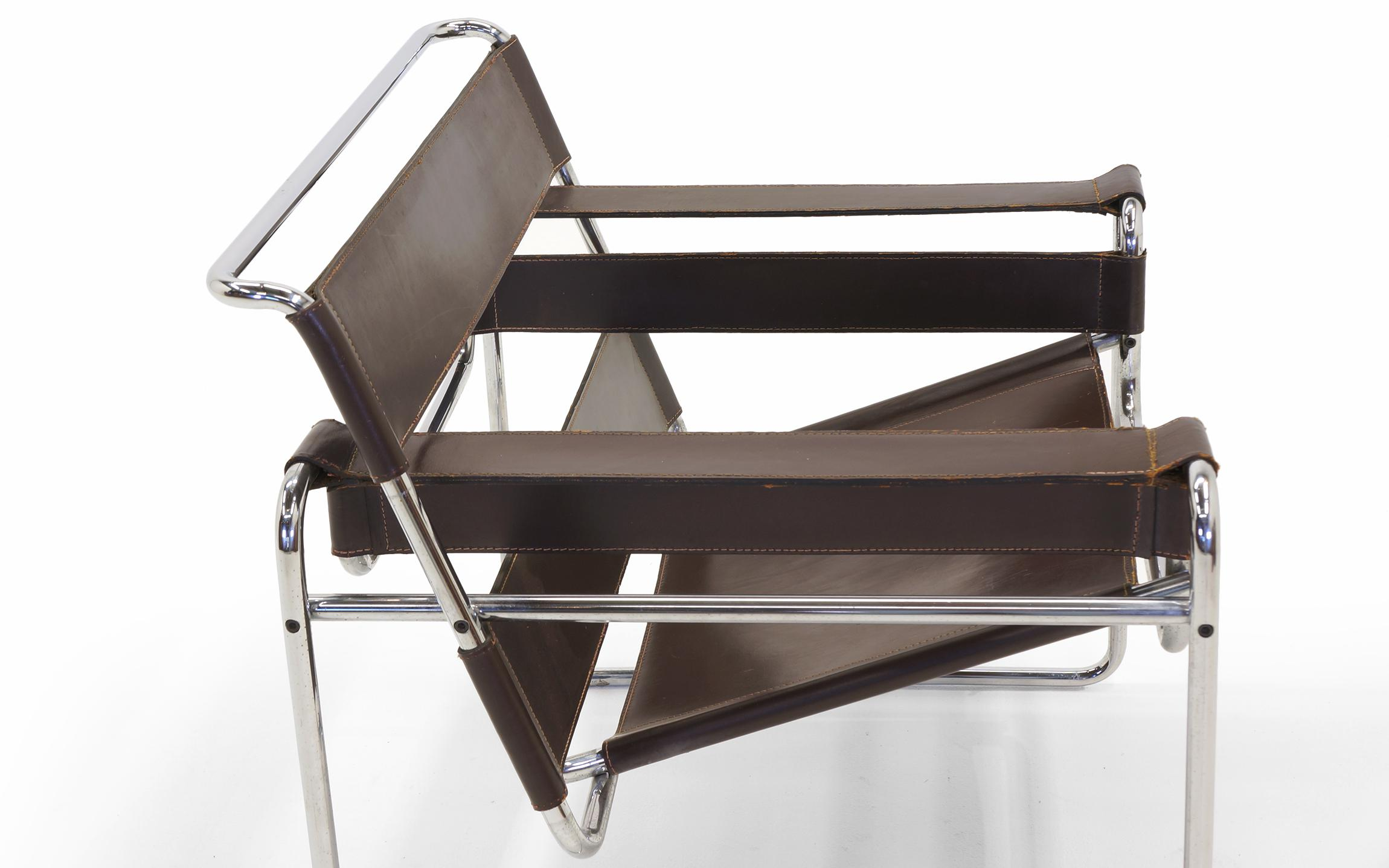 Early Original Knoll Gavina Wassily Chair By Marcel Breuer In Brown Leather    Image 5 Of