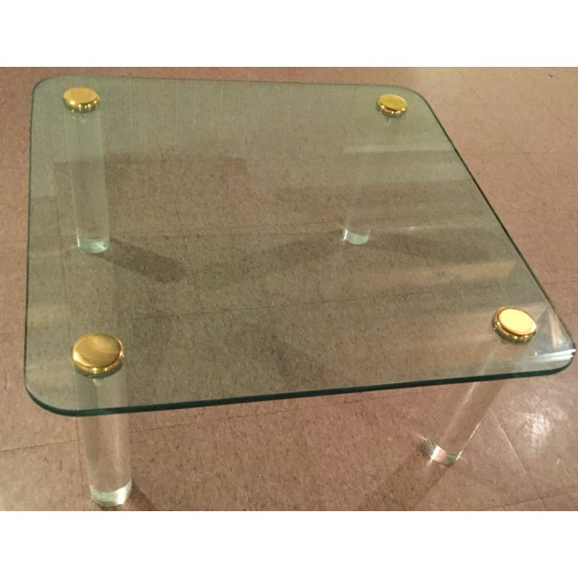 Hollywood Regency 1970s Glass and Brass Table For Sale - Image 3 of 8