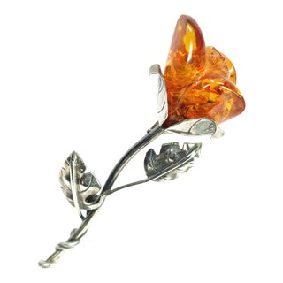 Edwardian Sterling & Carved Amber Rosebud Brooch, Circa 1910 For Sale
