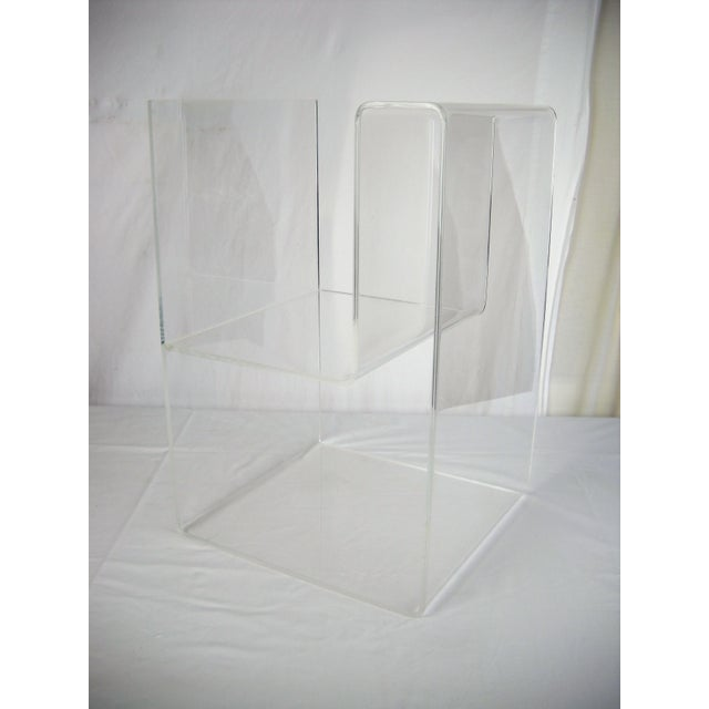 Large Lucite 2-Level Magazine Rack For Sale - Image 4 of 9
