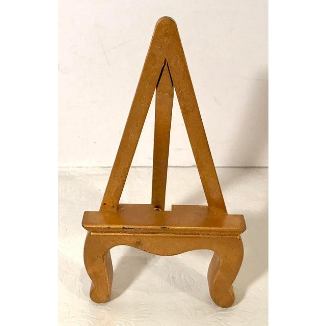 Wood Vintage Petite Gold Wooden Easel For Sale - Image 7 of 7