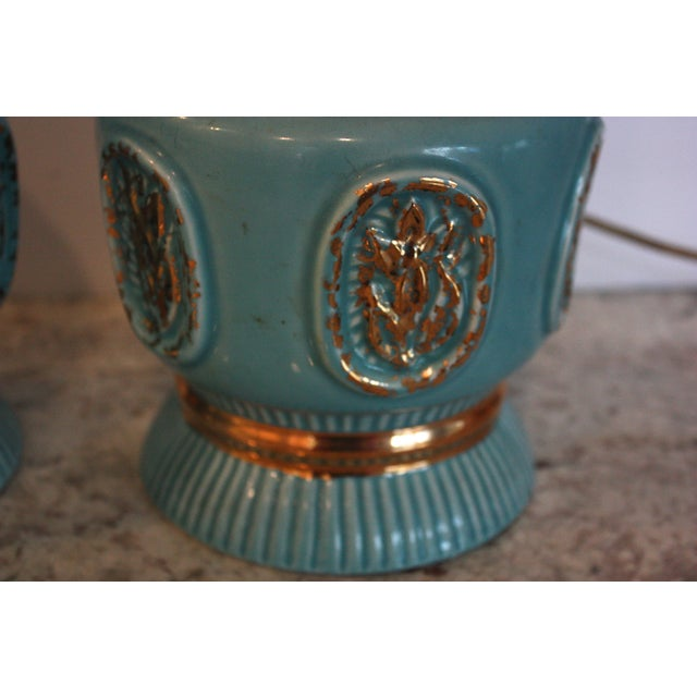Mid-Century Turquoise Lamps - A Pair - Image 3 of 4