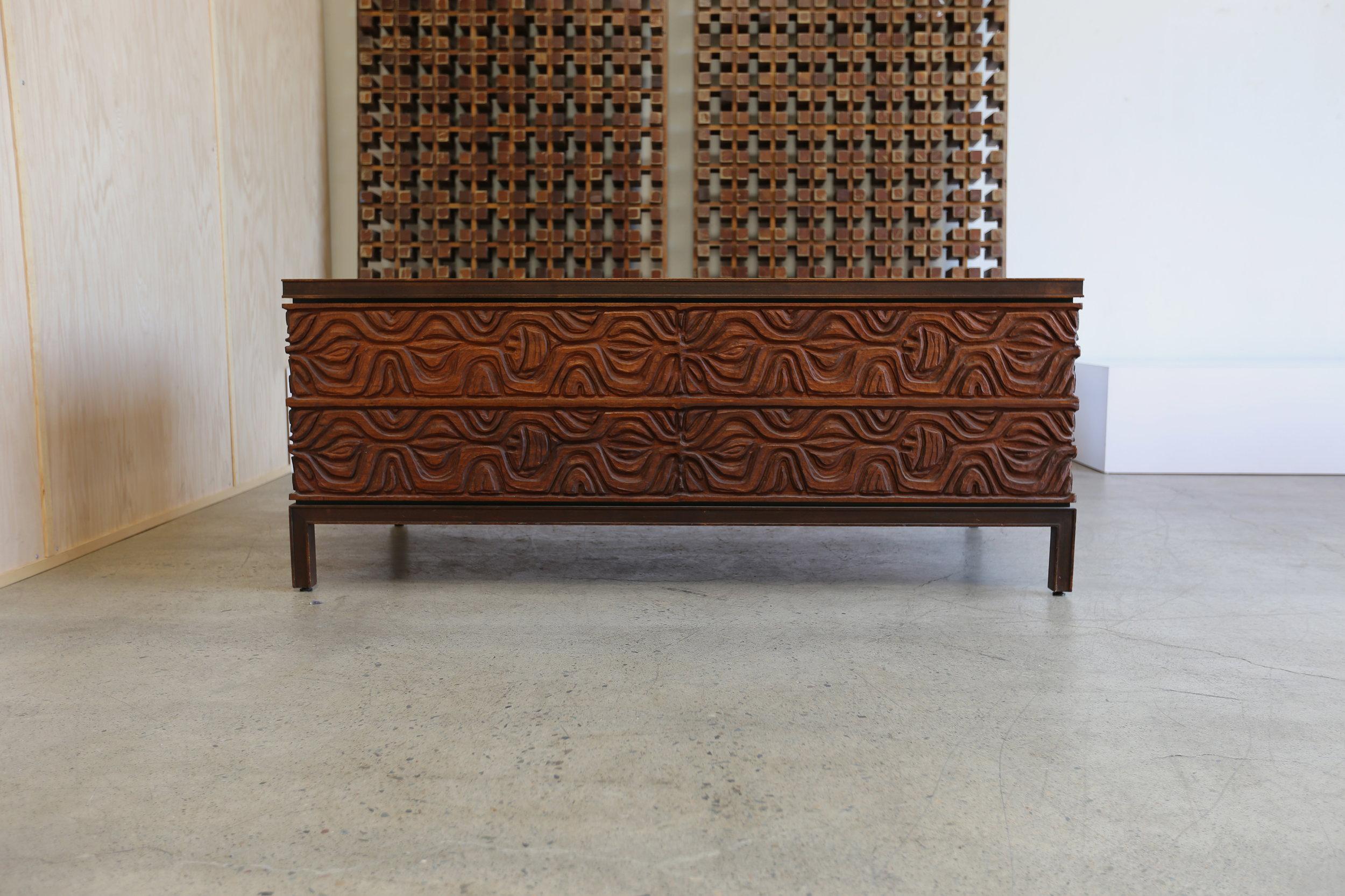 Mid Century Murray Feldman For A. E. Furniture Walnut And Panelcarve Tanker  Desk   Image 8